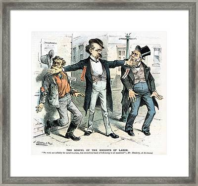 Knights Of Labor: Cartoon Framed Print