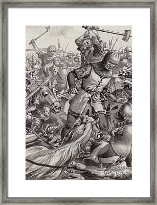 Knights Slaughtered On The Battlefield  Framed Print by Pat Nicolle