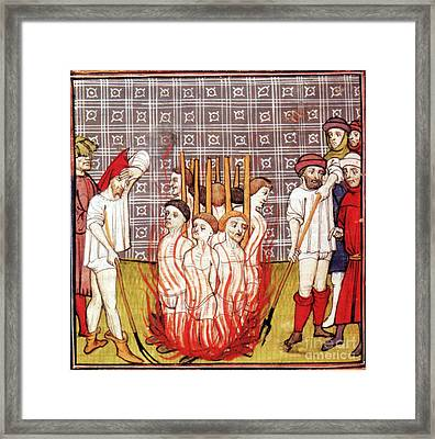 Knights Templar Burned At Stake, 1307 Framed Print by Science Source