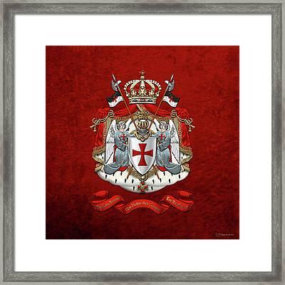 Knights Templar - Coat Of Arms Over Red Velvet Framed Print