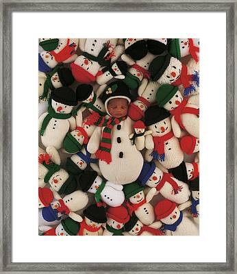 Knitted Snowman Framed Print by Anne Geddes