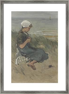 Knitting Girl On A Dune Framed Print by Bernard Blommers