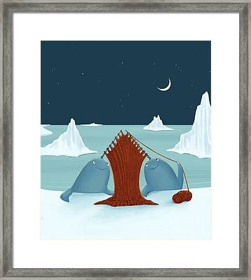 Knitting Narwhals Framed Print