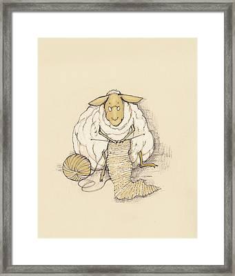 Knitting Sheep Framed Print by Peggy Wilson