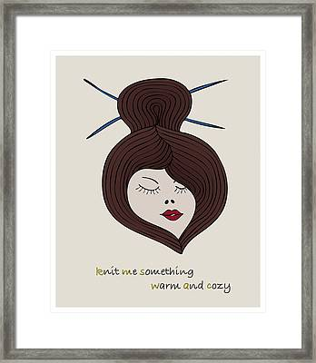 Framed Print featuring the drawing Knitty Girl by Frank Tschakert