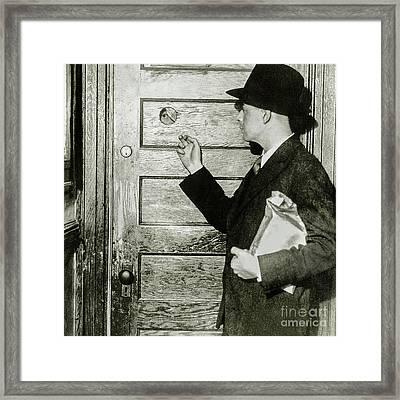 Knock Soft At The Speakeasy Framed Print by Jon Neidert