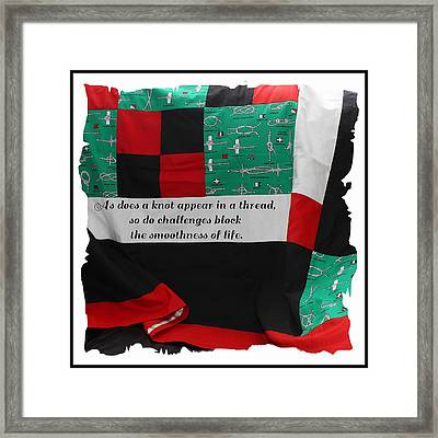 Knots On A Quilt With Quote Framed Print by Barbara Griffin