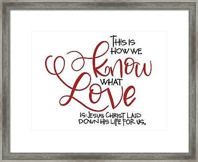 Know Love Framed Print by Nancy Ingersoll