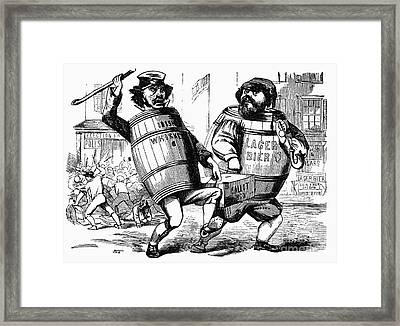 Framed Print featuring the drawing Know Nothing Cartoon, C1850 by Granger
