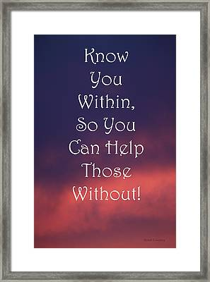 Know You Within Framed Print by Robin Coventry