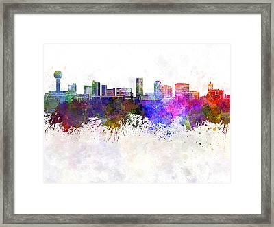 Knoxville Skyline In Watercolor Background Framed Print