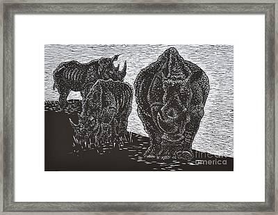 Knp White Rhinos Framed Print