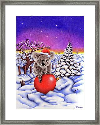Koala On Christmas Ball Framed Print by Remrov