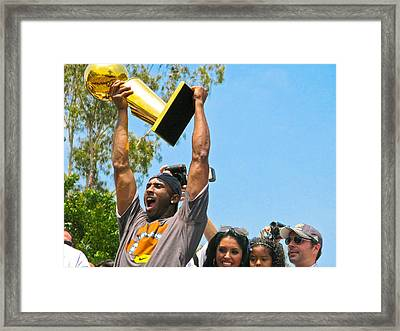 Kobe And The Trophy Framed Print by Carl Jackson