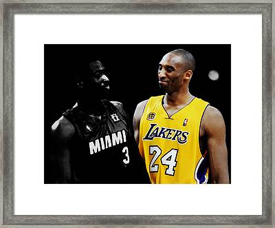 Kobe Bryant And Dwyane Wade 2 Framed Print by Brian Reaves