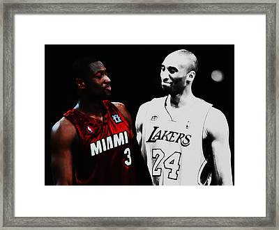 Two Masters Of The Game Kobe Bryant And Dwyane Wade Framed Print by Brian Reaves