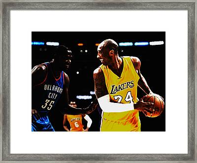 Kobe Bryant And Kevin Durant Framed Print by Brian Reaves