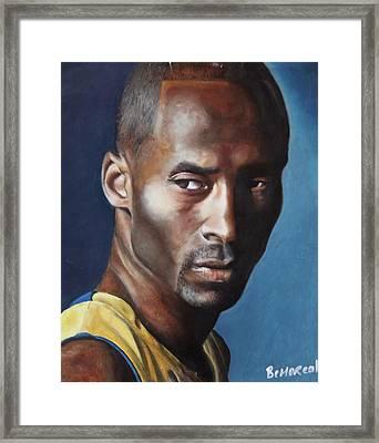 Kobe Bryant  Framed Print by Bernard Morille
