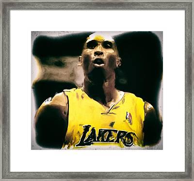 Kobe Bryant Focus Framed Print by Brian Reaves