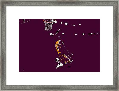 Kobe Bryant In Flight 08b Framed Print by Brian Reaves