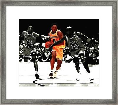 Kobe Bryant In Traffic Framed Print