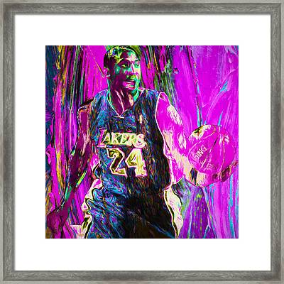 Kobe Bryant La Lakers Digital Painting 3 Framed Print by David Haskett