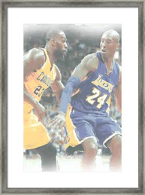 Kobe Bryant Lebron James 2 Framed Print