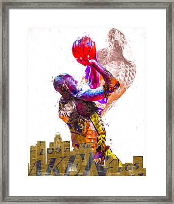 Kobe Bryant Los Angeles Lakers Digital Painting Snake 1 Framed Print by David Haskett