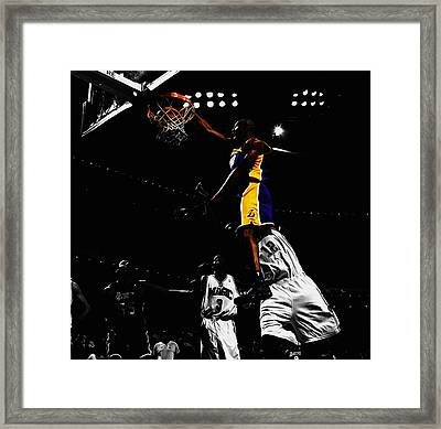 Kobe Bryant On Top Of Dwight Howard Framed Print by Brian Reaves