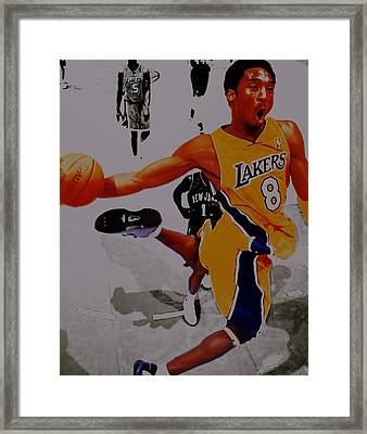 Kobe Bryant Taking Flight 3a Framed Print by Brian Reaves