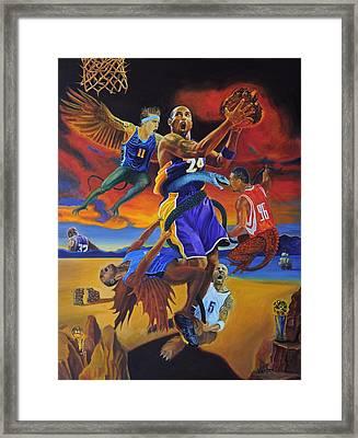 Kobe Defeating The Demons Framed Print by Luis Antonio Vargas