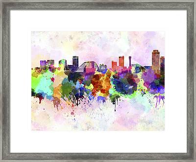 Kobe Skyline In Watercolor Background Framed Print