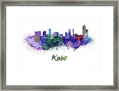 Kobe Skyline In Watercolor Framed Print