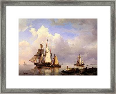 Koekkoek Hermanus Vessels At Anchor In Estuary With Fisherman Framed Print