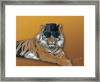 Kofia Tiger With Shades Framed Print