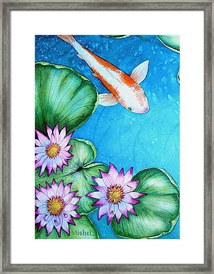 Koi And Lilies Cards And Prints  Framed Print
