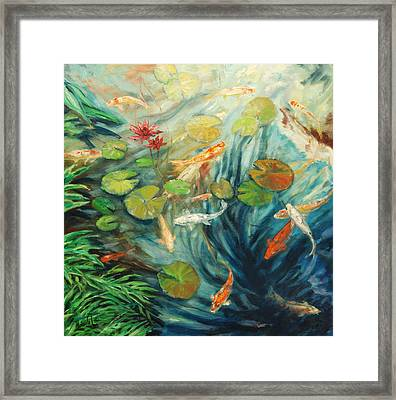 Koi And Palm Framed Print