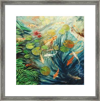 Koi And Palm Framed Print by Rick Nederlof