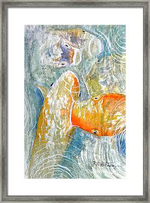 Framed Print featuring the painting Koi Carp Feeding Frenzy by Bill Holkham