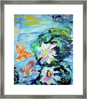 Koi Fish And Water Lilies Framed Print
