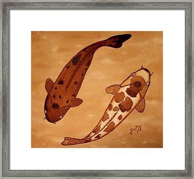 Koi Fish Feng Shui Framed Print by Georgeta  Blanaru