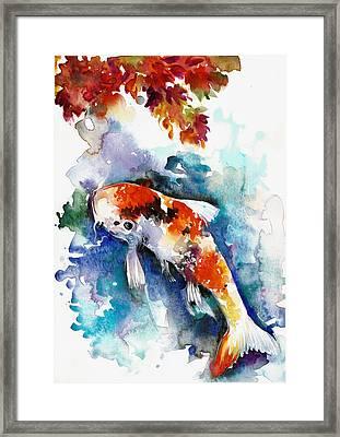 Koi Fish In The Lake Framed Print by Tiberiu Soos