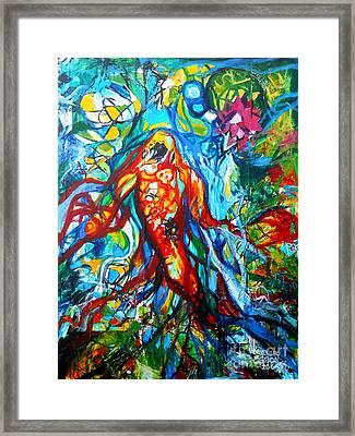 Koi Fish Mermaid Framed Print