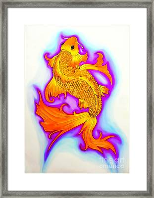 Koi Fish Water Color Edition Framed Print by Justin Moore