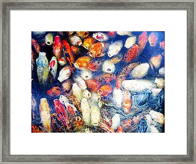 Koi In The Hourglass Framed Print by Riek  Jonker