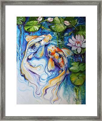 Koi Koi And Lily Framed Print by Marcia Baldwin