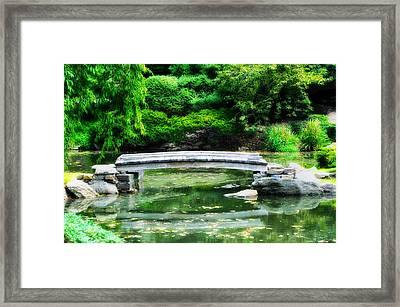 Koi Pond Bridge - Japanese Garden Framed Print by Bill Cannon