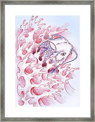 Koi Tattoo Sketch Framed Print