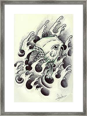 Koi Through The Water Framed Print by Samuel Whitton
