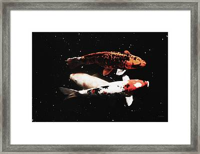 Framed Print featuring the photograph Koi Trio  by Deborah  Crew-Johnson